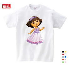 New Arrival Cotton Dora girls Sweet Lovely style t shirt Cartoon Print For Boy Girls Clothing Children Funny lovely Kids T Shirt