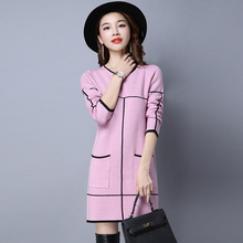 2016 New Women's Spring Autumn Winter Thicken Round Neck Pullover Knitted Sweaters Women Long Slim Sweater Dresses Y1122-78E