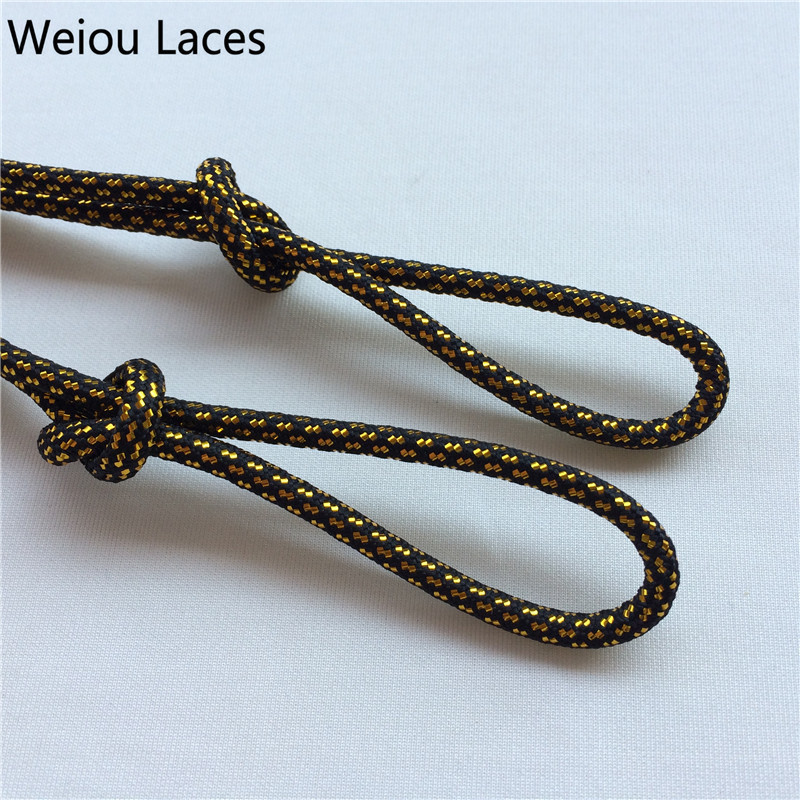 Shoelaces Shoe Accessories Weiou Cross Grain Black Gold Shoe Laces Sports Speckled Glitter Strings Round Novelty Dress Shoelaces Stretch For Martin Boots