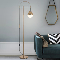 Nordic floor lamp modern simple living room gold iron glass ball light luxury bedroom bedside lamp study office lamp