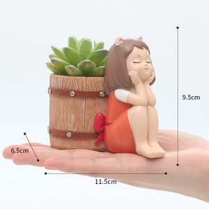 Image 5 - Roogo FlowerPot Resin American Style Flower Pots Decorative Cute Girl Succulents Plants Pot For Home Garden Balcony Decoration