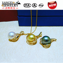 YANCEY Genuine G14K Gold 10-11mm Natural South Sea Pearl and Tahitian Black Pearl Pendant Necklace Jewelry цена и фото