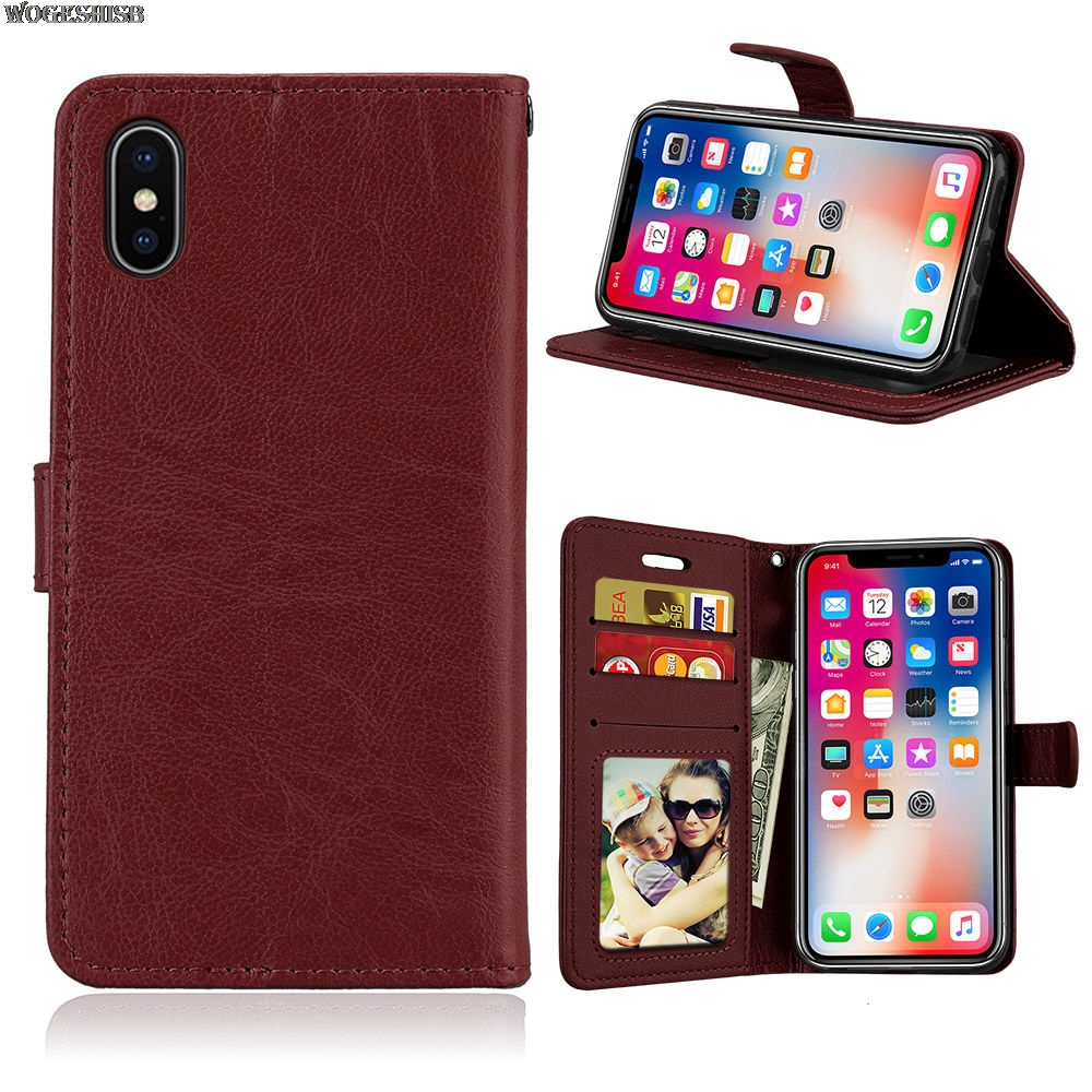 Luxury Wallet PU Leather Phone Case For iPhone X 6 6s 7 8 Plus 5 5s SE 4 4s Stand Flip Card Hold Soft Phone Cover Bags
