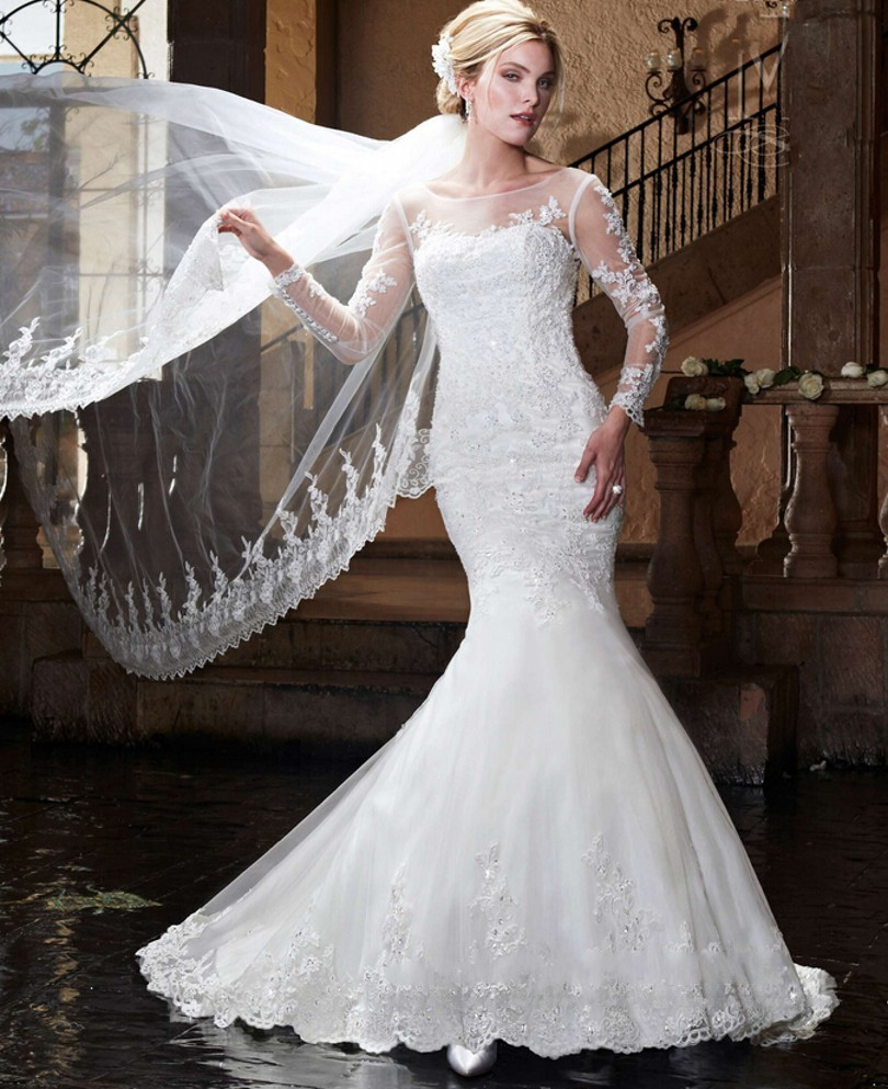 Wedding Dressing Gowns Personalised: Exqusite Long Lace Mermaid Wedding Dresses Sheer Neck Long