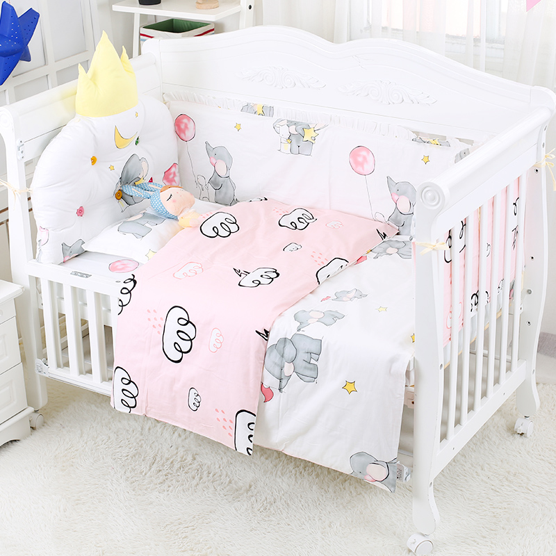 separation shoes e0453 c7569 US $63.45 53% OFF|Lovely Elephant Pattern Baby Crib Bedding Set Toddler Cot  Bed Set 7 pcs/set Bedding Kit With Bumper Bed Sheet Quilt For Infant-in ...