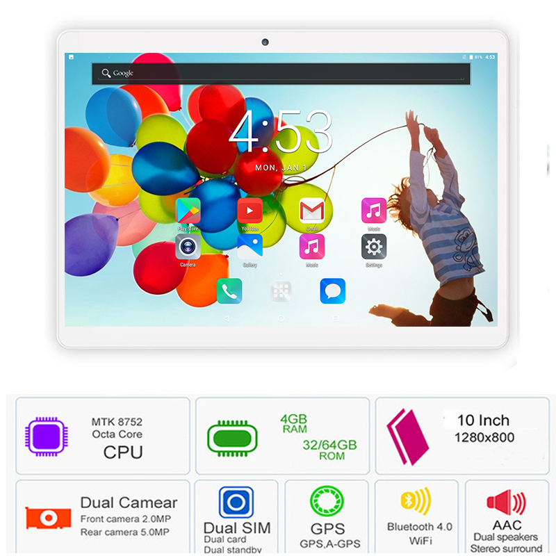 2019 Newest 10 Inch Tablet PC 3G 4G LTE Octa Core 4GB RAM 64GB ROM Dual SIM 5.0MP Android 8.0 GPS Bluetooth WiFi Tablet PC 10.1(China)