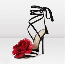 Sexy Black White Strpied Flower Sandals Peep Toe High Heeled Ankle Strap Ladies Dress Shoes High Quality Ladies Summer Shoes clear ankle strap peep toe heeled sandals
