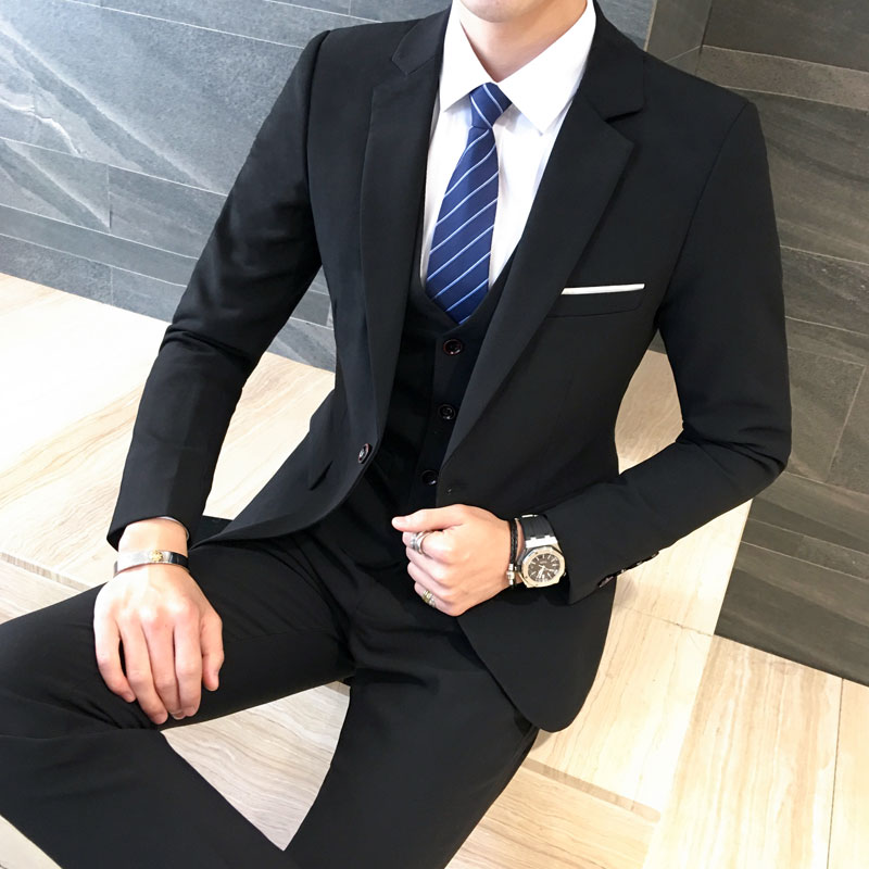 Male Three-piece Casual Suits Sets Handsome Dress Slim Blazer Pants Vest Mens Formal Wedding Suits Groom Tuxedos Coat Trousers