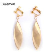 Geometric Leaf Clip Earrings No Pierced Ear Clip Metal Simple Leaves Earrings Without Piercing Women Minimalist Jewelry CE116