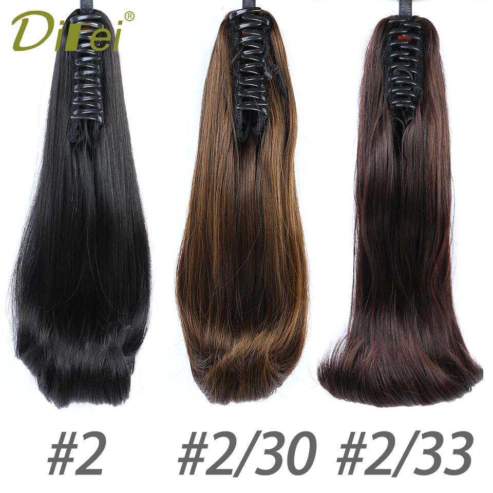 DIFEI Short Straight Synthetic Claw Ponytails Hair Extensions 16 13v0g Black Brown Piano Color Womens Hairpieces