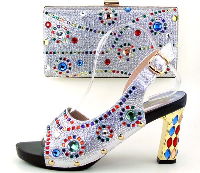 African Wedding Women Shoes And Bag Set For Wedding silver Shoes And Bag Set For Free Shipping !OH1-21