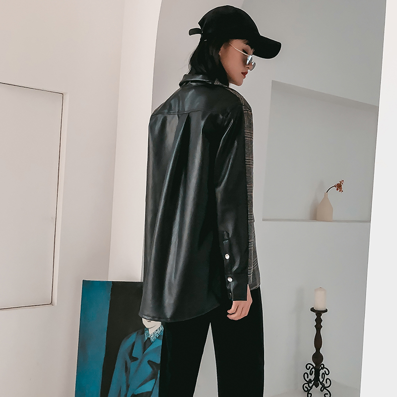 houndstooth Cuir À Femmes Blazers Vestes Plaid Et Patchwork Cheerart Highstreet En Designer Plaid Veste Manches Longues Blazer Costume 2E9IWDH