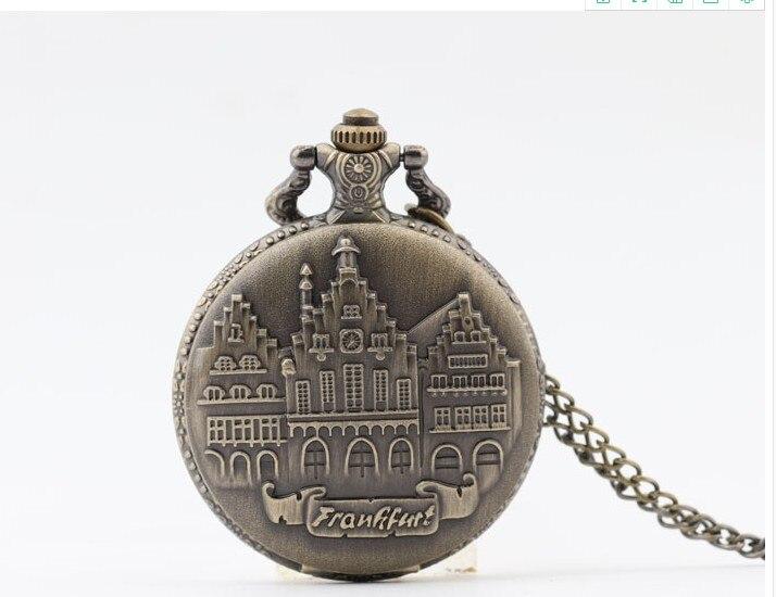 Vintage Bronze German Castle Quartz Clock Pendant Chain Woman And Men Necklace Pocket Watches Gift