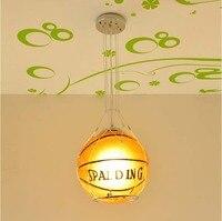 Child S Bedroom Football Pendant Lamp Children Basketball Pendant Light Drop Lights 25cm Diameter Glass Cover