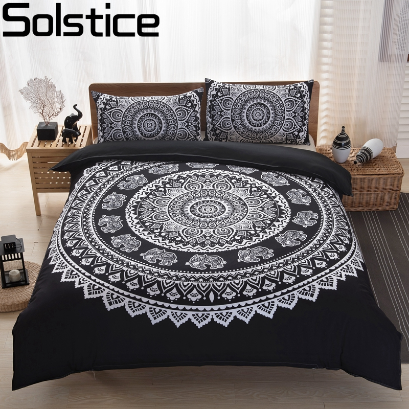 solstice bedding set bohemian peacock elephant style duvet cover 3pcs sets classic black and white home