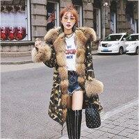 97 CM LONG raccoon fur hood parka raccoon collar coat jacket Camouflage hoodie women parka raccoon winter with fur