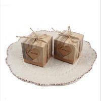 100pcs Candy Box Wedding Hearts in Love Rustic Kraft Imitation Bark with Burlap Twine Chic Vintage Wedding Favor Gift Boxes