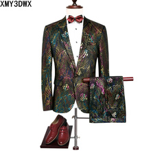 Shiny Floral Stage Wear Singer Suit Tuxedos Jacket Coat Pant 2017 Men Paisley Sequins Blazer Male Wedding Costume 2 pieces Suit
