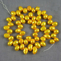 Unique Pearls jewellery Store Gold Yellow Corn Potato Top Drilled Dancing Freshwater Pearl Loose Beads One Full Strand YLC1 21