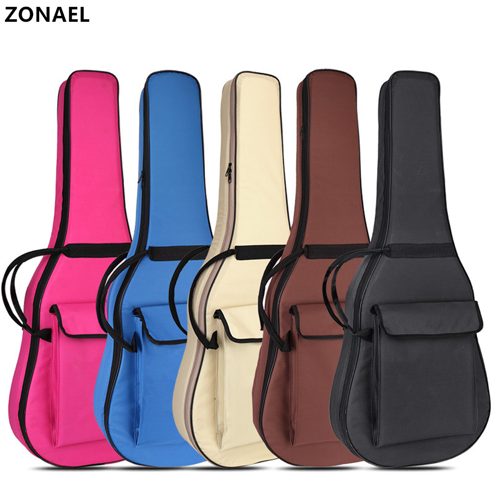 ZONAEL 40 / 41 Inch Guitar Gig Bag Waterproof Guitar Bag Pad Cotton Thickening Backpack Double Straps Soft Case Guitar Parts 21 inch colorful ukulele bag 10mm cotton soft case gig bag mini guitar ukelele backpack 2 colors optional