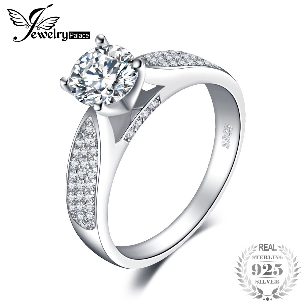 JewelryPalace Fashion Round Cubic Zirconia Wedding Ring For Women Real 925 Sterling Silver Fashion Jewelry Ring Birthday Present jewelrypalace classic wedding solitaire ring for women pure 925 sterling silver simple wedding jewelry fashion gift
