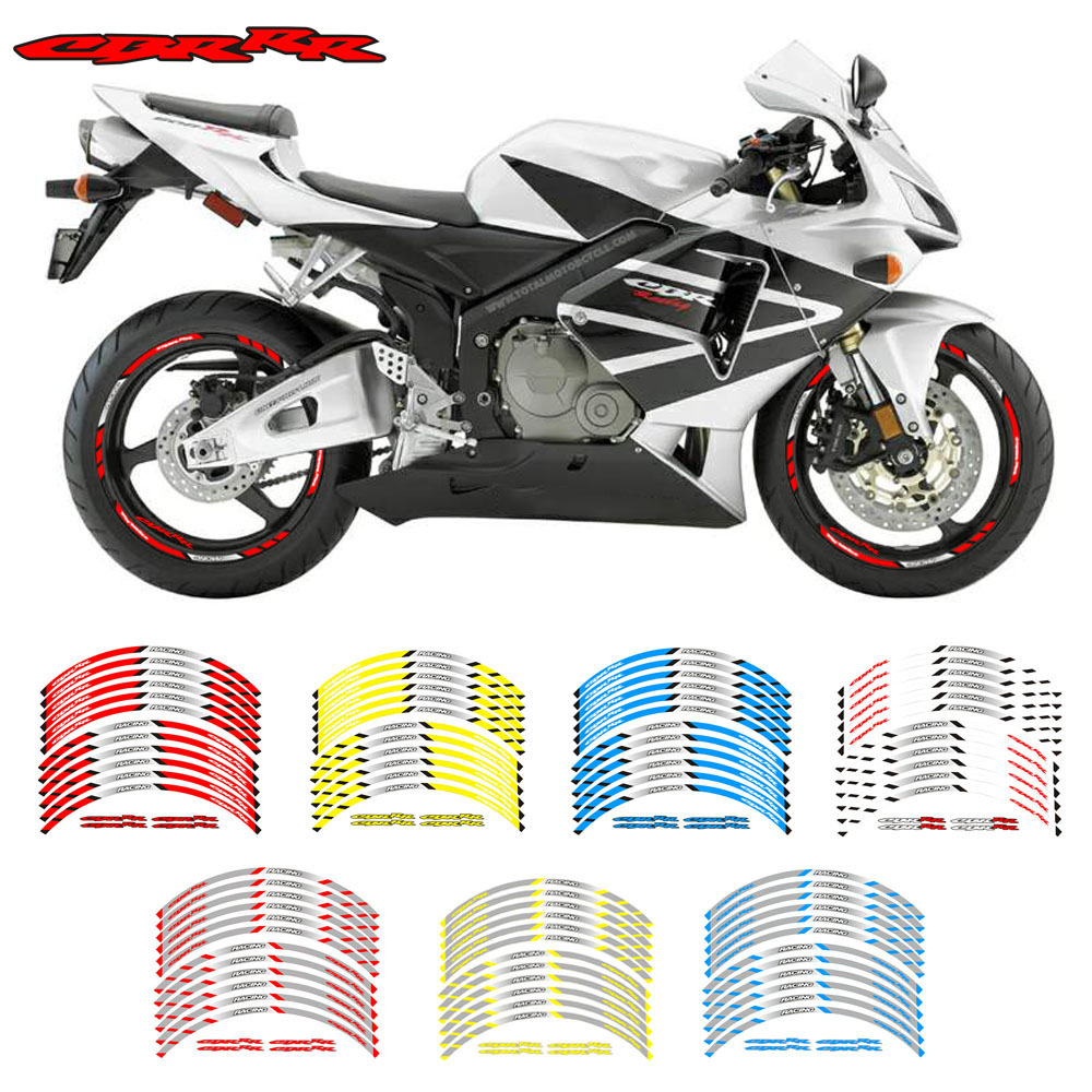 Gloss White Motorcycle Rim Wheel Decal Accessory Sticker For Honda CBR 900RR