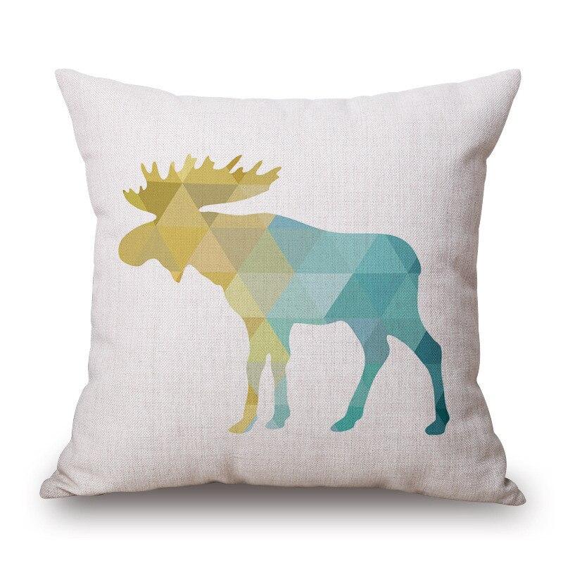varicolored Deer Animal Printed Cotton Linen Cushion Cover Decorative Pillowcase Use For Home Sofa Car Office Almofadas Cojines