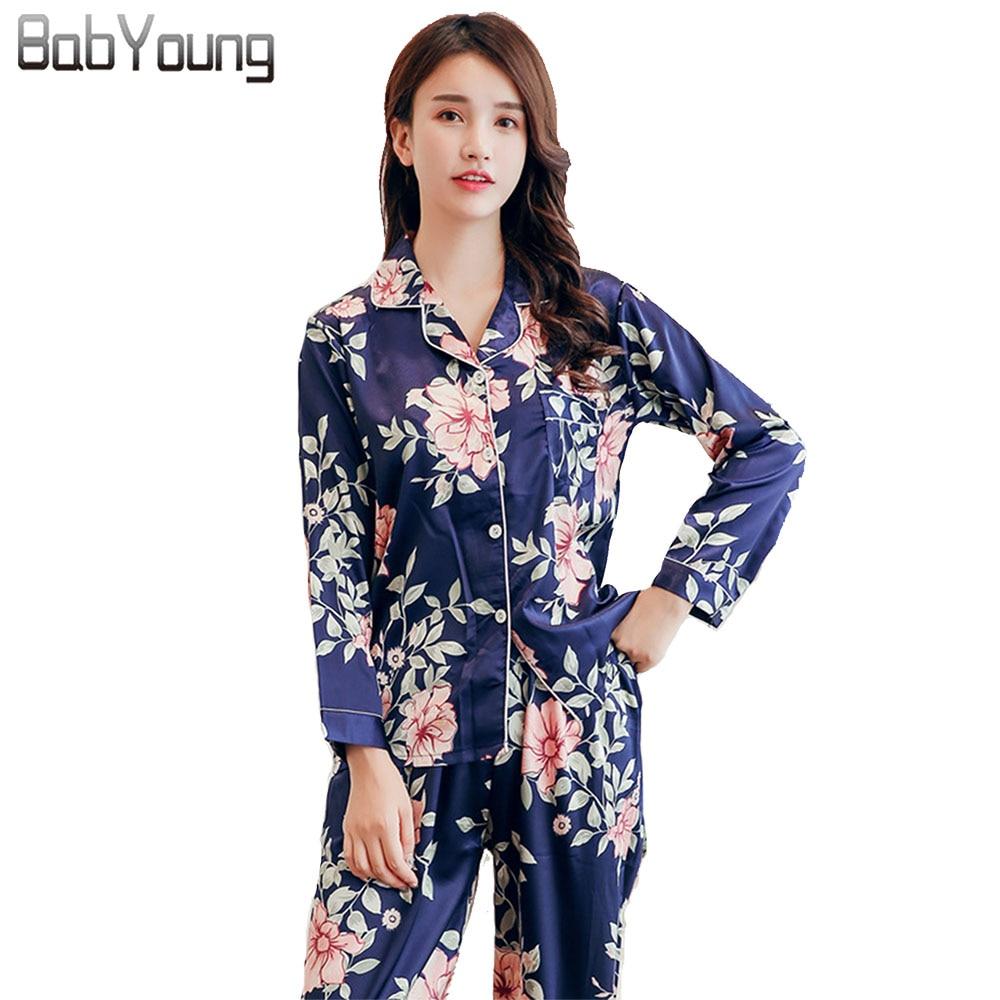 BabYoung Summer Women   Pajamas     Set   Flower Print Pyjamas Femme Satin Silk Sleep Wear Long Sleeve Nighty Suit Pijama Mujer Feminino