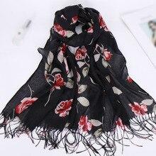 Cotton Tassel Ladies Beach Sunscreen Shawl Scarf Luxury Print Lady Headscarf Wrap Towel