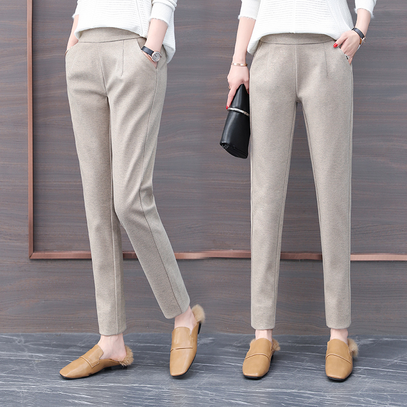 2019 New Arrival Women Fashion Woollen Trousers Spring New Style  Fashionable Harem Pants Small Leg Trousers