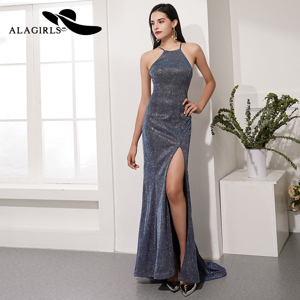 Alagirls Hot Sale Sexy Mermaid Prom Dress Floor Length Spaghetti Evening Sequins Party Vestido de fiesta 2019