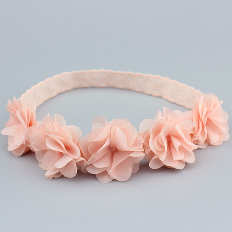 Купить с кэшбэком Fashion Pink Elasticity Flowers Hair bands DIY Handmade Beautiful Cute Lace Newborn Kids Princess Headband