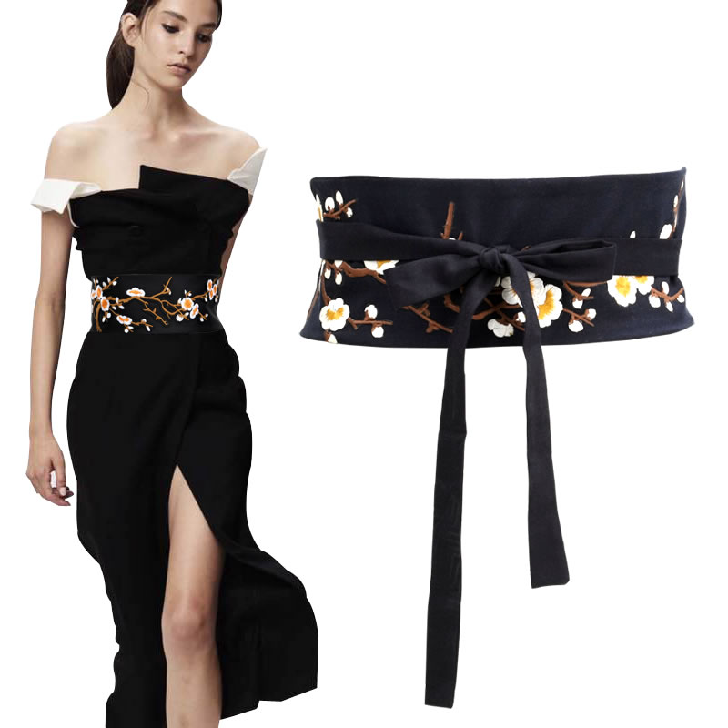 Women's Runway Fashion Black Handmade Embroidery Cotton Cummerbunds Female Vintage Dress Corsets Decoration Wide Waistband Belts
