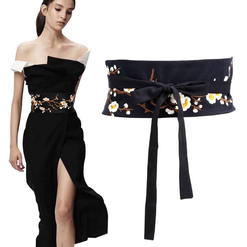 Women's Runway Fashion Black Handmade Embroidery Cotton Cummerbunds Female Vintage Dress Corsets Decoration Wide Waistband Belts