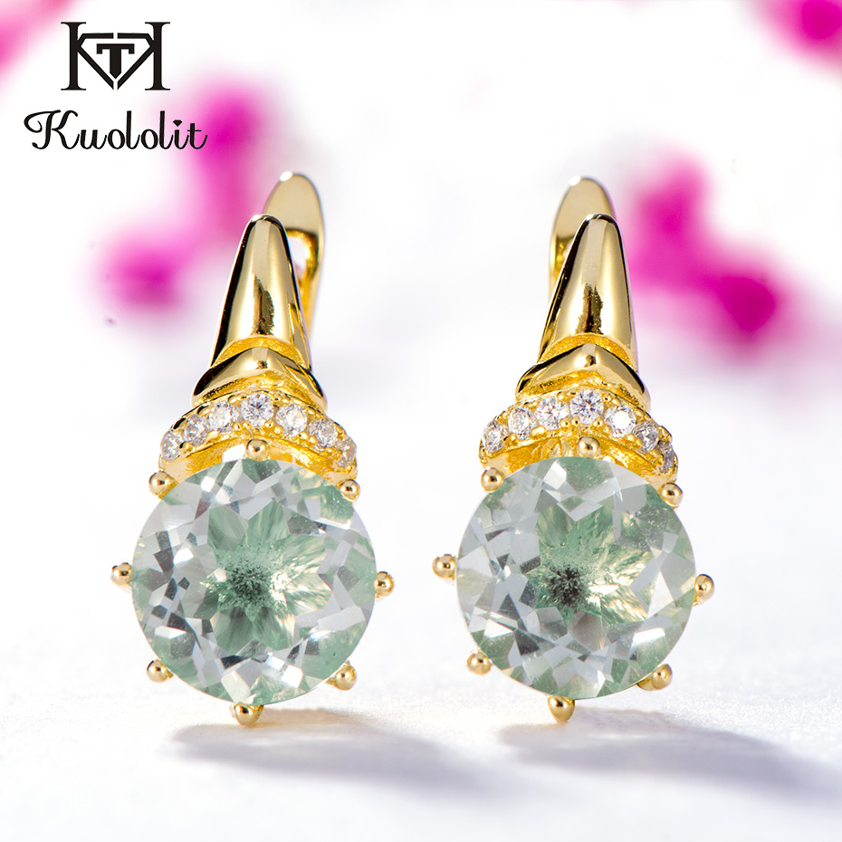 Kuololit 100% Natural Green Amethyst Clip Earrings for Women 925 Sterling Silver Yellow Gold Color Earrings Gifts Fine Jewelry