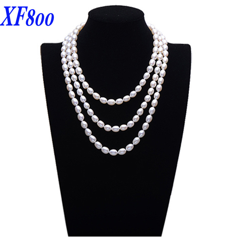 XF800 3 size Natural freshwater pearl long necklace ,150cm drop shape pearl sweater necklace for party S95