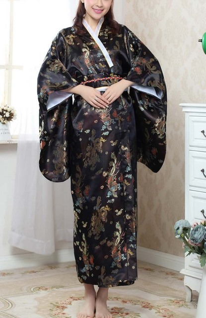 NEW Black Fashion Japanese Women's Kimono Evening Dress Free Shipping Wholesale and Retail one size