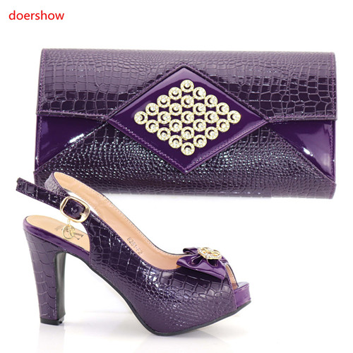 doershow good purple Italian Matching Shoes And Bag Set African Style Ladies red Shoes And Bag To Match For Wedding Dress PAB1-8 doershow new arrival shoes and bag to match italian summer african style shoes and bag set italy ladies shoes and bag as1 33