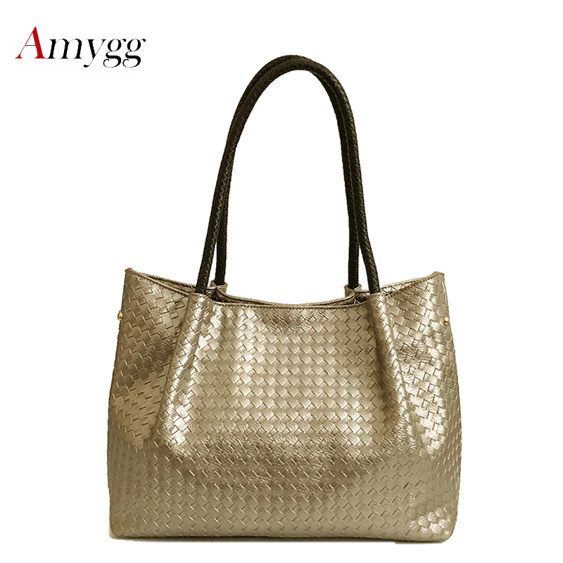 2019 Woven Knitted Bags Women Leather Handbags Famous Brands Women Bags Large Capacity Casual Tote Bag Female Shoulder Bags Gold2019 Woven Knitted Bags Women Leather Handbags Famous Brands Women Bags Large Capacity Casual Tote Bag Female Shoulder Bags Gold