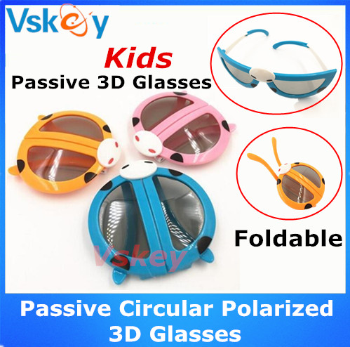 3pcs Kids Foldable Passive Circular Polarized 3D Glasses For Passive 3D Tvs and 3D RealD Movie Theaters Cinema System Childrens