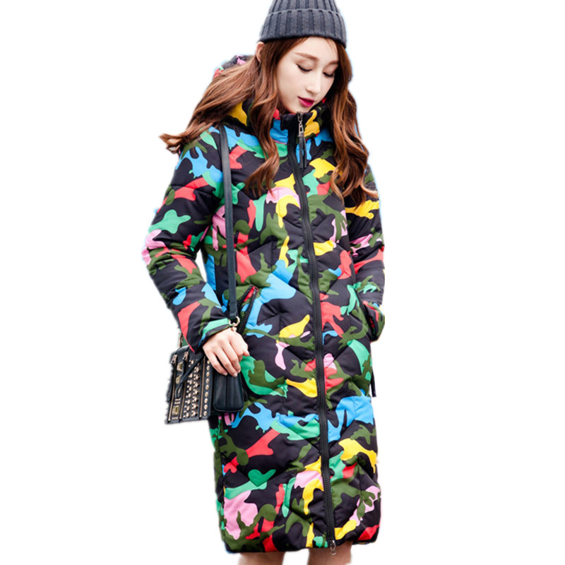 Print Fashion Winter Coat Women Thick Hooded Warm Parka Femme Cotton Padded Casual Long Camouflage Wadded Jacket Women TT3396 fashion warm lambswool hooded thick cotton parka padded manteau femme hiver casual solid color wadded winter jacket tt3349