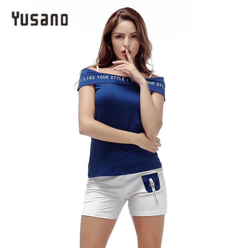 100bd10a5f Yusano 2018 Pajamas Set Cotton Slash neck Letter Print Sleepwear Women  Casual Tops+Shorts with