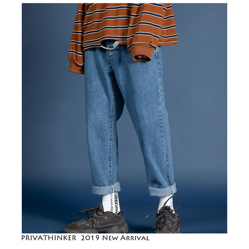 Privathinker Men Streetwear Blue Jeans 2019 Women Black Jeans Korean Fashions Harem Pants Male Denim Pants OverSize