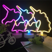 2018 New Unicorn LED Neon Night Light AA Battery Powered Handcraft Tube Night Lamp Party Wedding Bedroom Decoration Luminaire