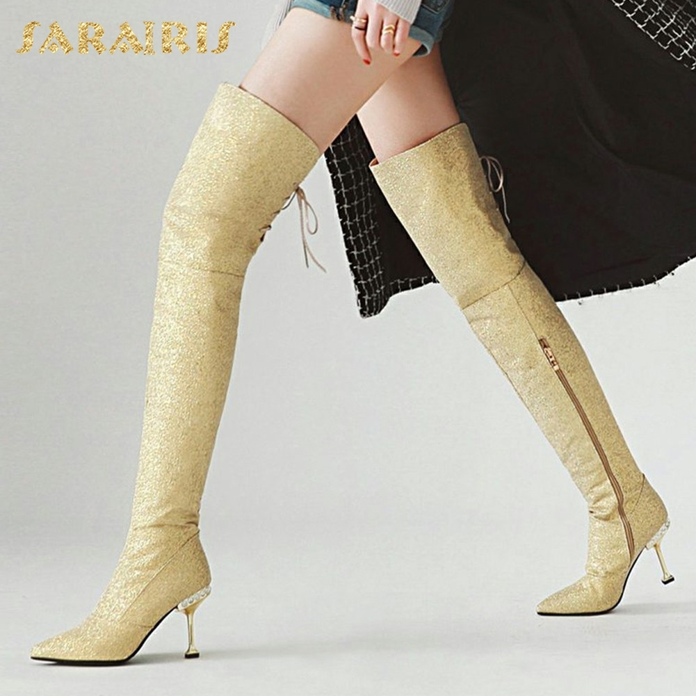 SARAIRIS plus Size 32-43 Sequin Cloth Thin High Heels Pointed Toe Woman Boots Shoes Woman Zip Up Over Knee High Boots sequin embroidered zip up jacket page 1