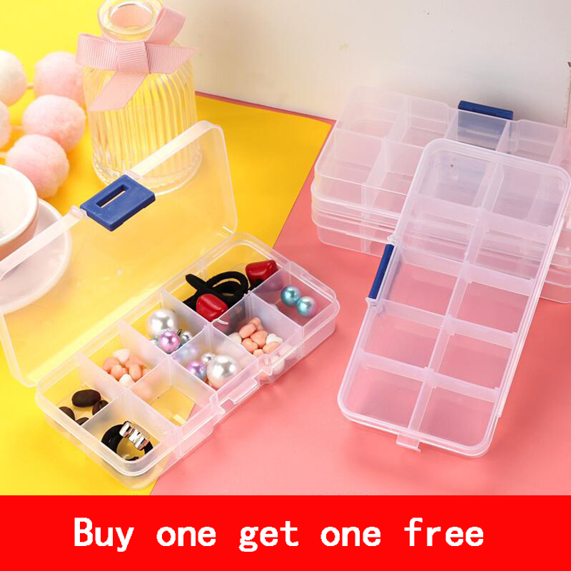 Adjustable 8-36 Grids Transparent Plastic Jewelry Box Earrings Case Objects Organizer Storage Tools