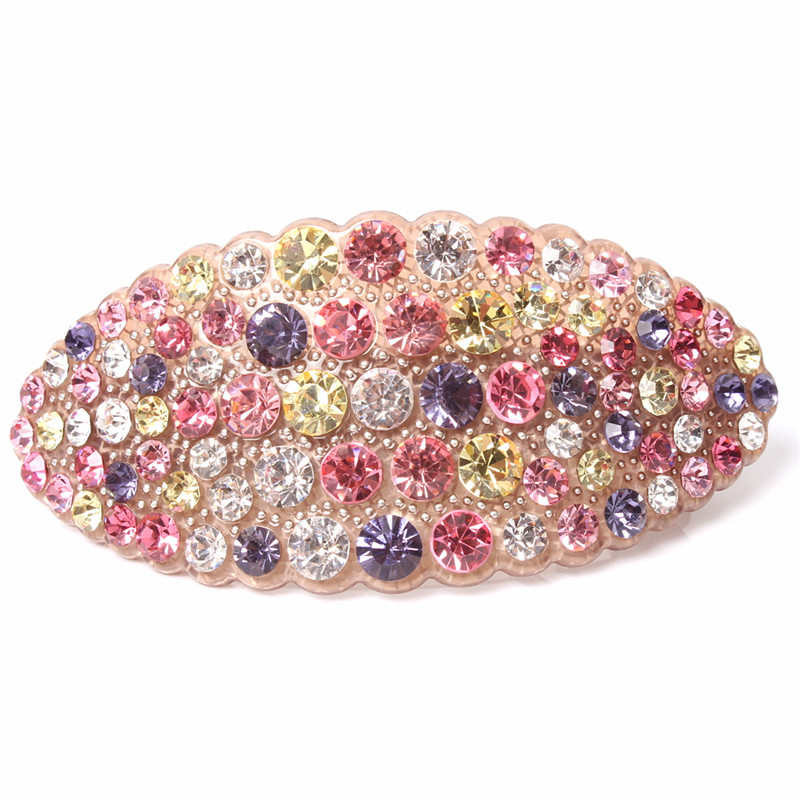 Buena Hot New High Quality Hair smykker Akryl Østerrike Rhinestone Crystal Hair Barrette for kvinner Klipp til Hair Hairpins AA30
