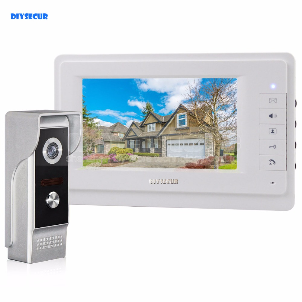 DIYSECUR 700TVLine IR Camera 7 inch TFT Color LCD Display Video Door Phone Intercom Doorbell IR Night Vision diysecur 1024 x 600 7 inch hd tft lcd monitor video door phone video intercom doorbell 300000 pixels night vision camera rfid