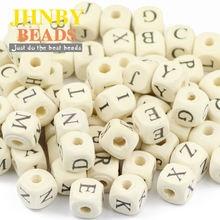 Квадратные деревянные бусины jhnby 52 шт 10 мм a ~ z буквы алфавита