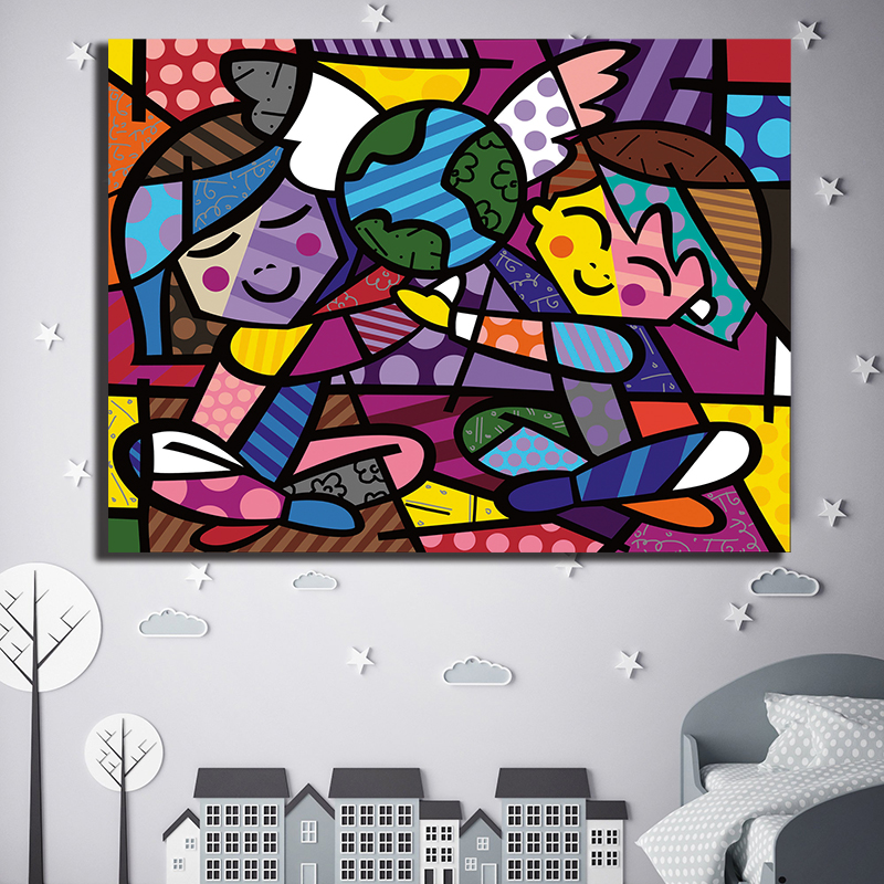 Three Of Us 2005 First Love Canvas Abstract Oil Paintings People Oil Print Poster Wall Art HD Picture For Living Room Home Decor image